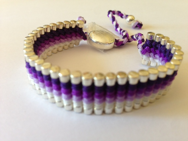 Friendship Bracelet Purple & White Colour